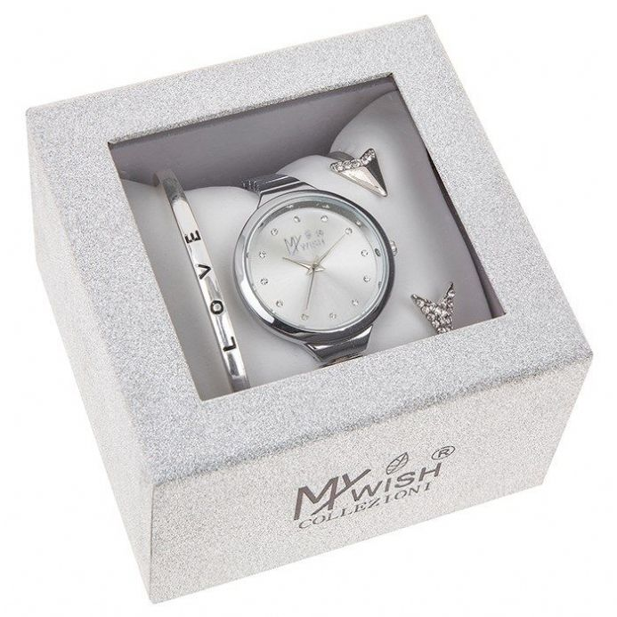 Timeless Silver Coloured Large Dial Watch 3 Piece Set